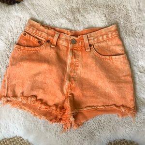 Orange Levi's Cut Off Shorts
